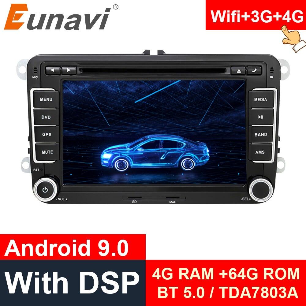 Eunavi 2 din 7 android android android 9.0 jogador multimídia do carro para vw skoda polo passat b6 cc tiguan golf 5 6 fabia 2din gps 4g 64 gb wifi