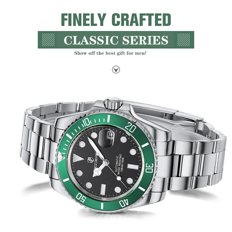 Lacz Denton men's watches Diver Water Luxury Sapphire Men Automatic Mechanical Watches Ceramic Bezel 10Bar wristwatches homage
