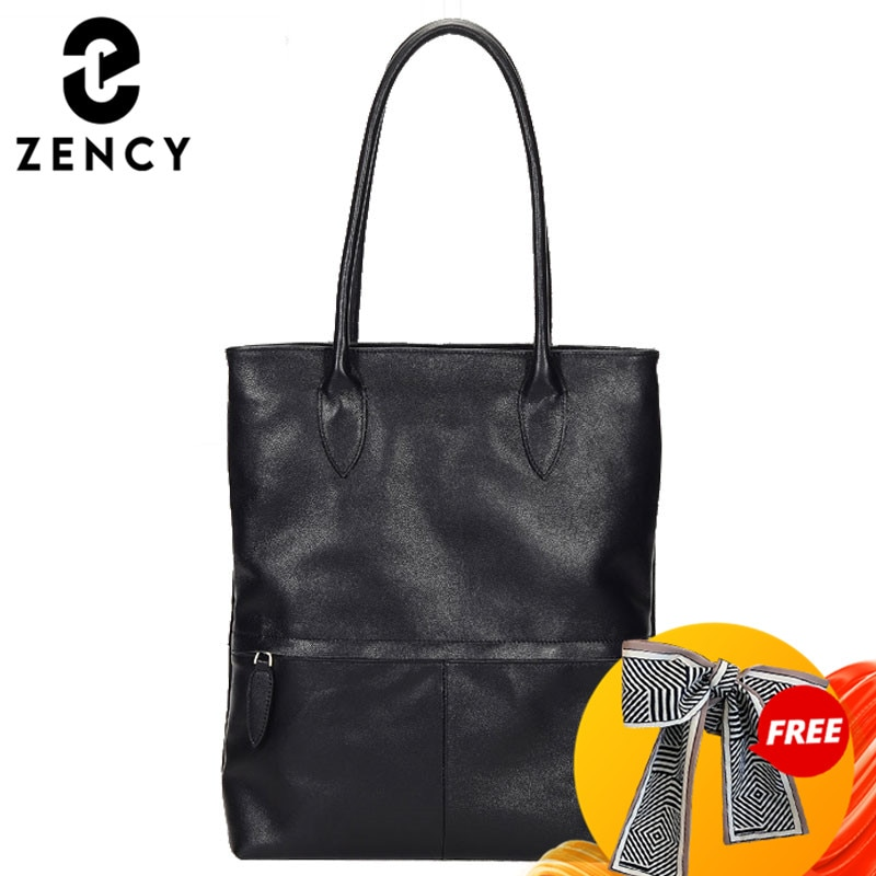 حقيبة يد نسائية كلاسيكية باللون الأسود من زنسي 100% جلد طبيعي حقيبة يد يومية غير رسمية أنيقة حقائب كتف للسيدات حقائب تسوق كبيرة