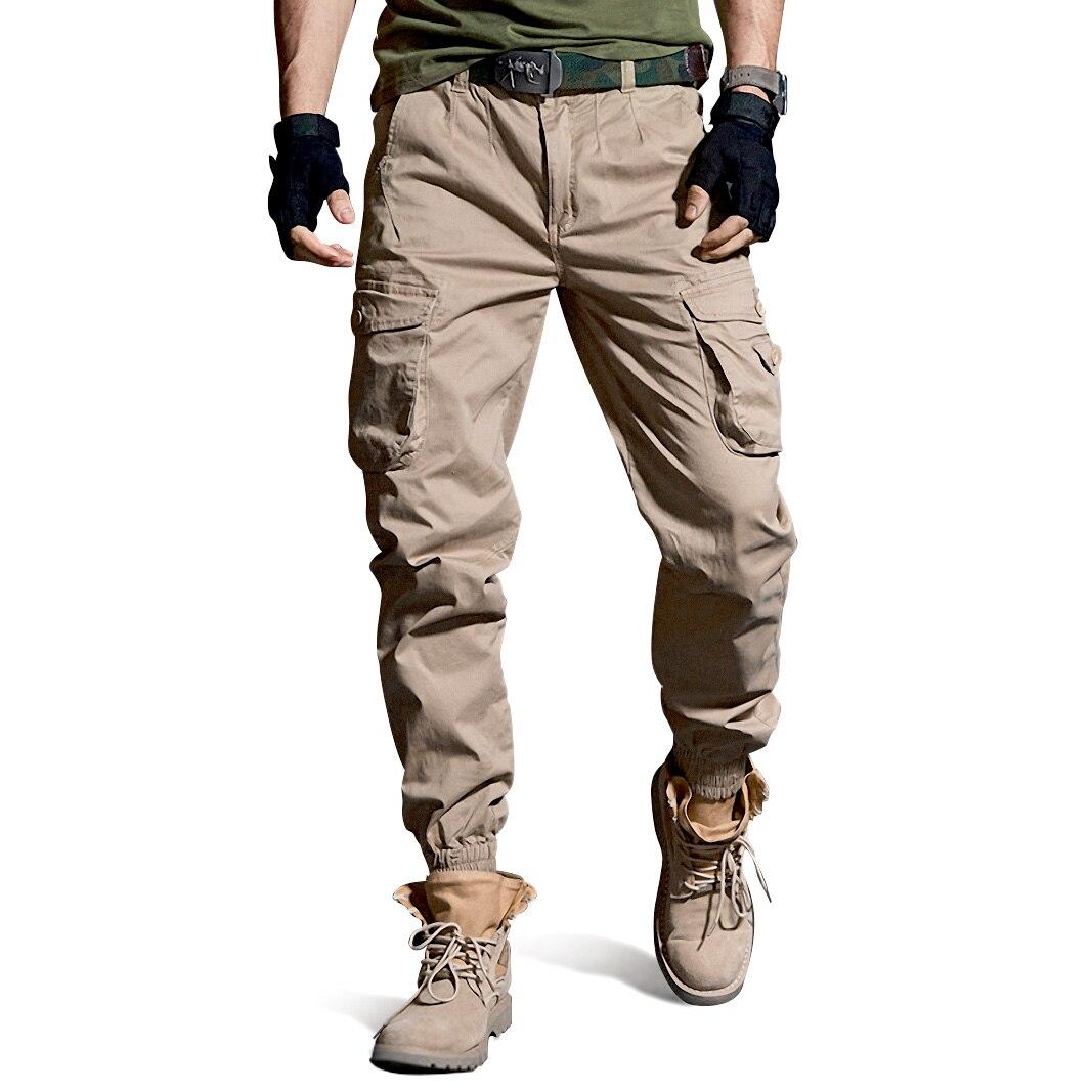 Мужские брюки 2021, повседневные камуфляжные военные тактические брюки-карго со множеством карманов, модные джоггеры, черные армейские брюки...