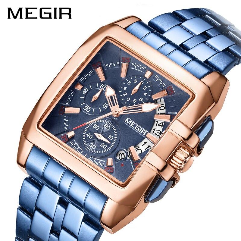 MEGIR Blue Stainless Steel Men Watch Rectangle Big Dial Business Quartz Men's Wristwatches Relogio Masculino Military Watch Man