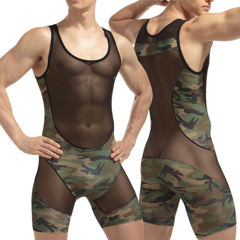 Sexy para hombre Camo Slim Stretch malla Lencería Bodywear body ropa interior Sexy camuflaje Costura de malla