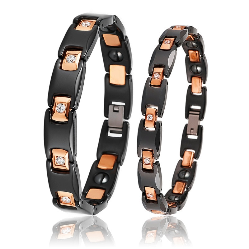 OKtrendy Women Ceramic Magnetic Therapy Healing Bracelet Germanium Health Care Bangle Relieve Pain Anti Radiation Wristband Gift