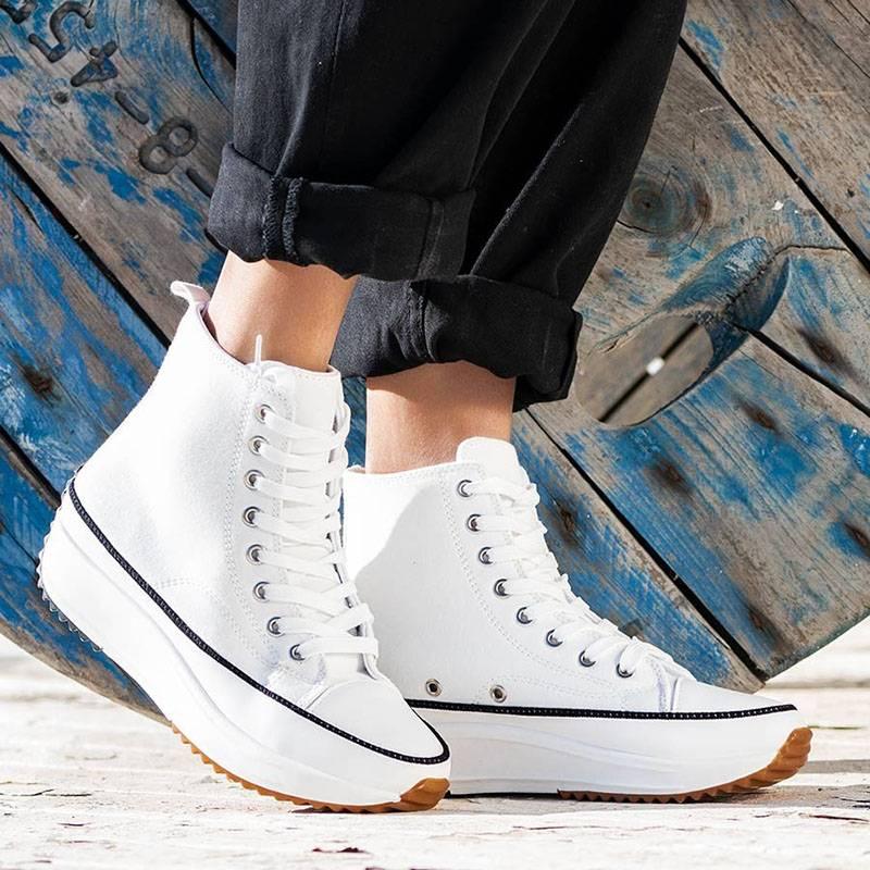 WoMen Stylish Canvas Lace Up Platform Sneakers Platform Boots Size 35-43 Shoes  Woman Sneakers White
