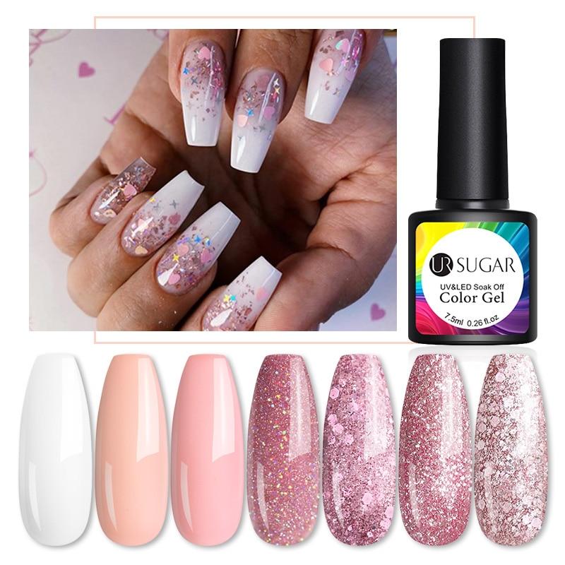 UR SUGAR 7.5ml Nude Glitter Gel Nail Polish Rose Gold Sequins Nail Gel Soak Off Nail Art UV LED Gel Polish Manciures Nails