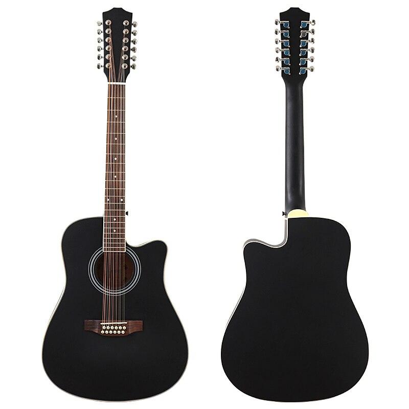 Black 12 Strings Guitar Acoustic Guitar Solid Spruce Wood Top 41 Inch Cutaway Design Folk Guitar Matte Finish Wood Guitar enlarge