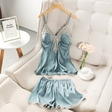 Women's Pajamas 2021 New Summer Ice Thin Silk Suspender Shorts Two-Piece Set Sexy with Breast Pad Ho