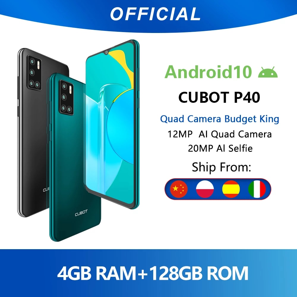 Cubot P40 Rear Quad Camera 20mp Selfie Smartphone Nfc 4gb 128gb 6 2 Inch 4200mah Android 10 Dual Sim Card Mobile Phone 4g Lte Cellphones Aliexpress