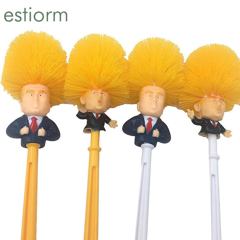 Cepillo limpiador Donald Trump para el baño, divertido cepillo para el inodoro de Trump, cepillo para el baño, cepillo de limpieza del WC con soporte, conjunto de regalo para el hogar