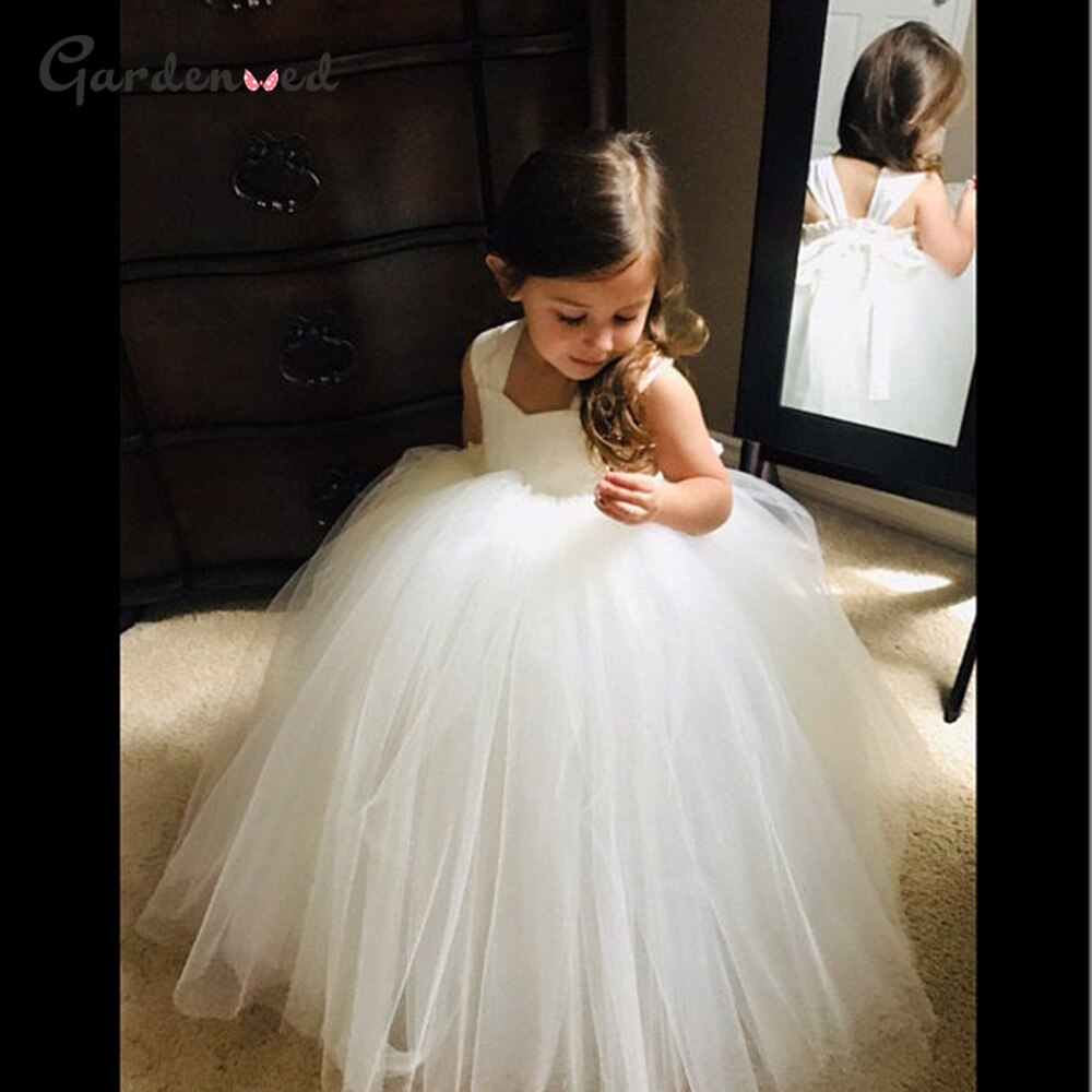 appliques flower girl dresses bow knot v neck kids pageant dress evening for party birthday hollow out princess dress b29 Puffy Flower Girl Dresses Tulle Princess Dress Spaghetti Strap Kids First Communion Dress Bow Net Girl Birthday Party Dress
