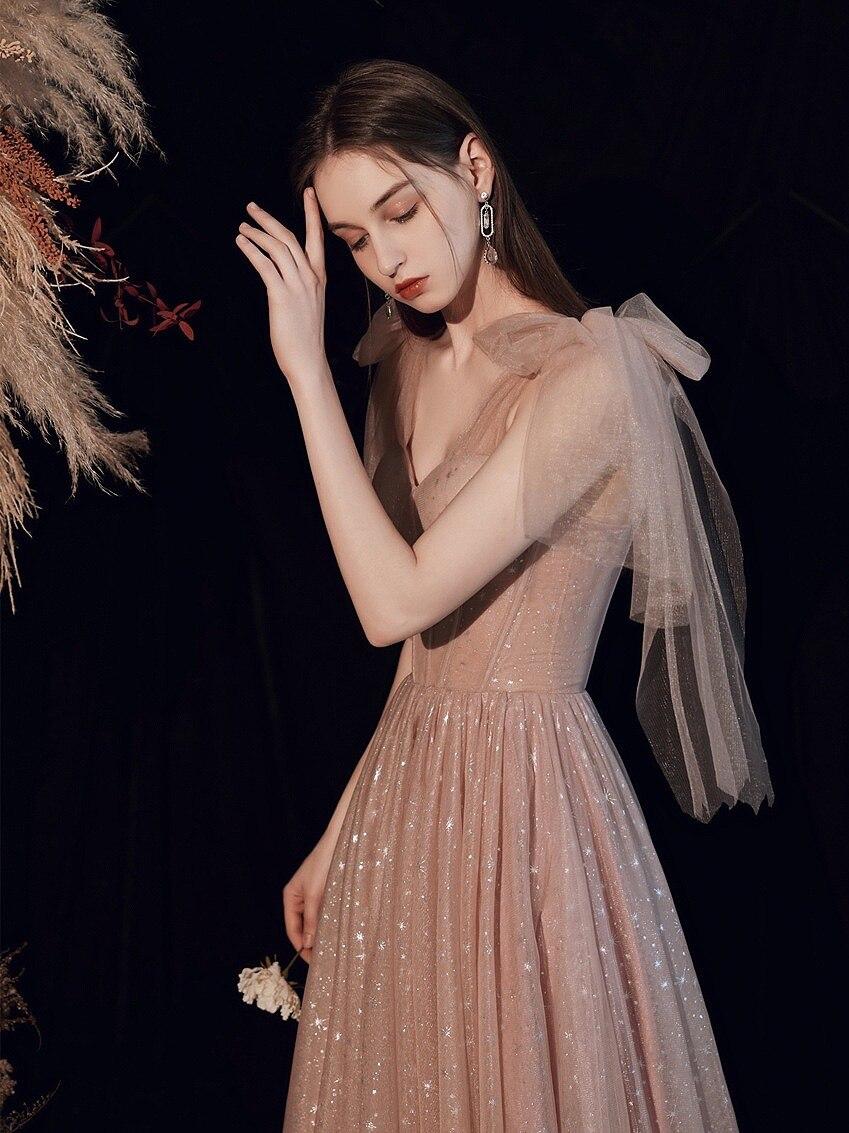 فستان سهرة مثير من التول الوردي اللامع ، جديد ، أحزمة سباغيتي ، ياقة قلب ، لحفلات الزفاف ، أعياد الميلاد ، العودة إلى الكرة