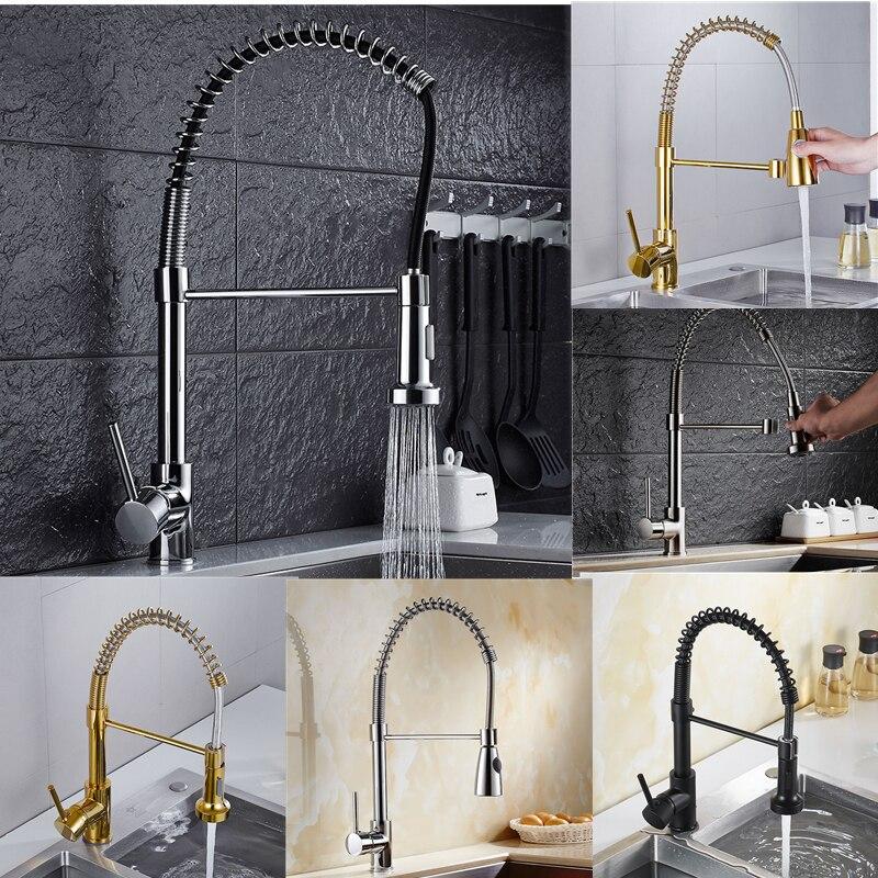 نحى الفضة سحب صنبور مقبض واحد ثقب واحد تدوير خلاط بالوعة المطبخ صنبور المياه تحسين المنزل للمطبخ