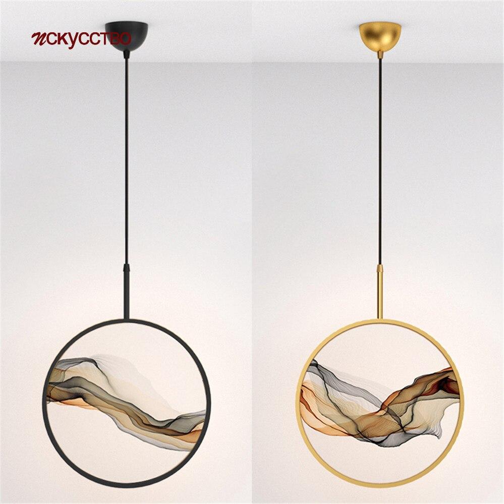 مصباح معلق Led بتأثير فن تجريدي ، أكريليك ، تصميم ما بعد الحداثة ، أسلوب آرت ديكو أنيق ، مثالي لغرفة الطعام أو المقهى أو المنزل.