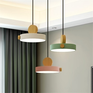 Simple Metal Wood Pendant Light Colorful Indoor LED Lamp The Restaurant Dining Room Bar Cafe Shop Lighting Fixture AC110-265