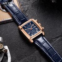Часы Megir Мужские кварцевые прямоугольные, брендовые армейские светящиеся в стиле милитари, с хронографом, синие, ML2028G, 2020
