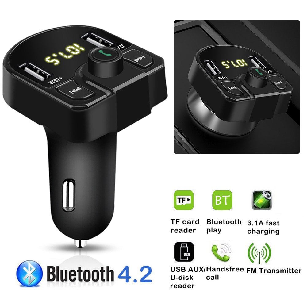 Multi-functional Car FM Transmitter Bluetooth Handsfree U Disk TF MP3 Player 3.1A+1A Dual USB Charger Car Vehicle Accessaries