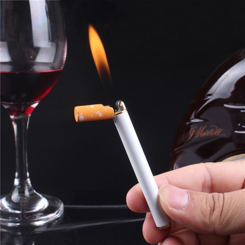 Creativo Mini compacto antorcha encendedor de butano exterior encendedor de Gas de cigarrillo metálica en forma de encendedor libre de fuego de rueda de bolsillo