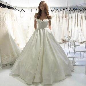 Simple 2020 Wedding Dresses A Line Satin Off the Shoulder Modern Bridal Gowns Plus Size vestidos de noiva Sweetheart White Dress