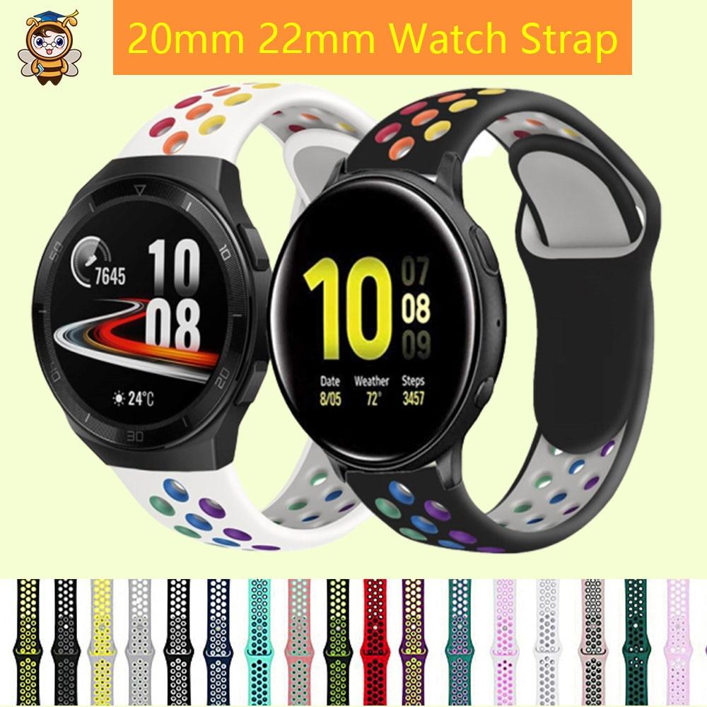 Оригинальный Радужный Цветной силиконовый 20/22 мм ремешок для часов HUAWEI Watch gt2e/2 Samsung Galaxy 46/42 мм/Active 2 gear S3 съемный