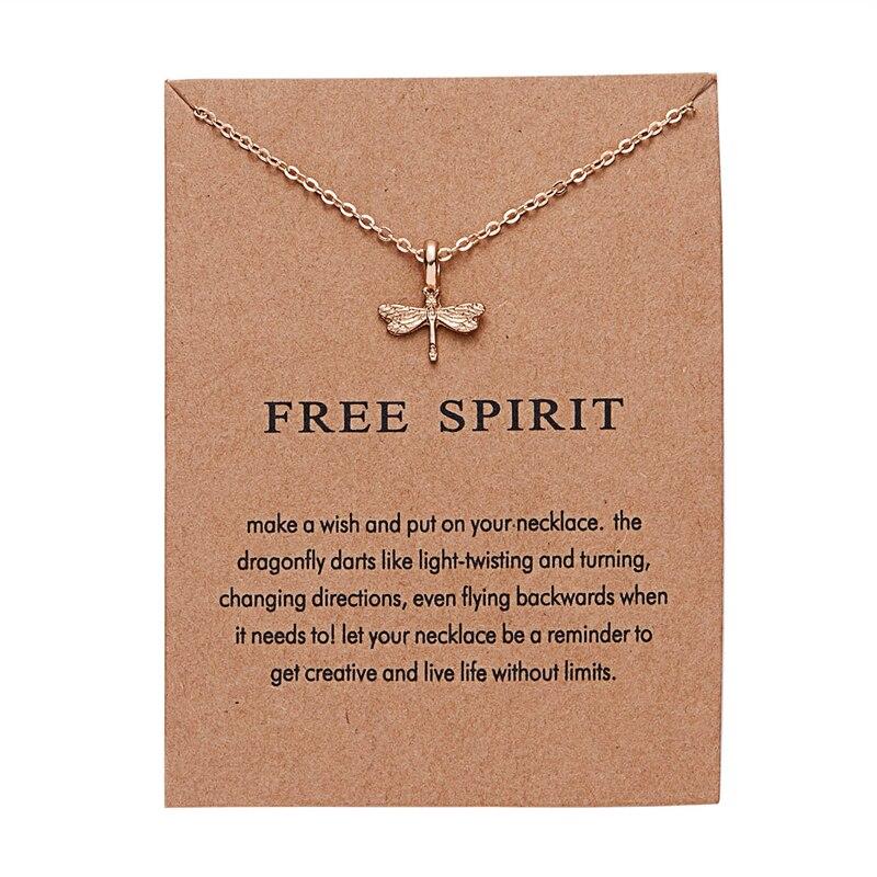 Collar de moda Ailodo para mujer con tarjeta de deseos, de Color dorado de libélula colgante collar con, joyería de deseo, regalo de cumpleaños LD242
