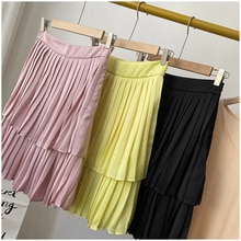 Free Shipping French Minority Summer New Partysu Temperamental Double Layer Pleated Skirt Female Ins