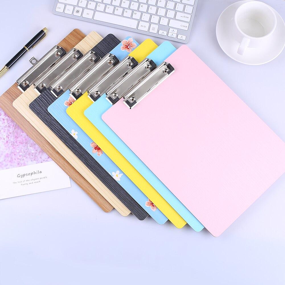 6Pcs/Set A5 Clipboards Wooden Mini Restaurant Menu Clip Board Writing Pad Kawaii Nurse Paper Holder Office File Folder Organizer