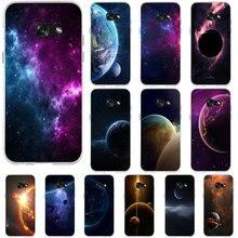 Espaço lua vidro temperado planeta estrelas macio silicone casos de telefone para samsung galaxy j1 j3 j5 j7 a3 a5 a7 2015 2016 2017 sacos
