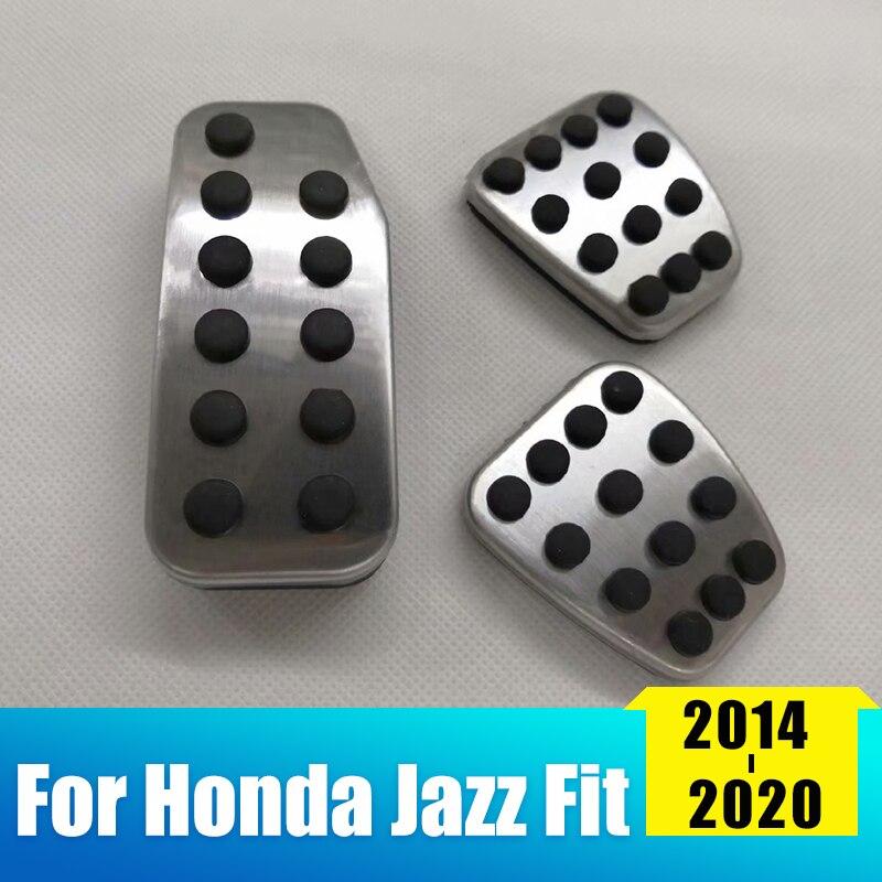 Capa de aço inoxidável para pedal de acelerador, pedal de freio, conjunto de pedais, placa de almofada para honda jazz fit 2014 2015 2016 2017 2018