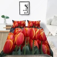 red tulips bed set queen size beautiful floral quilt cover nature king twin full double single creative bedding set comfortable