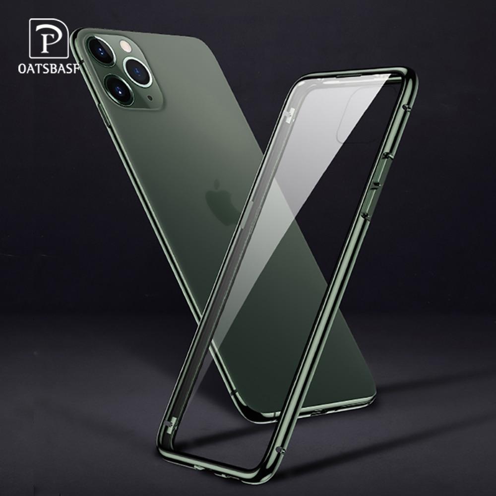 Capa de telefone de vidro dupla face de metal para iphone 11 11pro para iphone 11 pro max transparente drop-proof à prova de choque