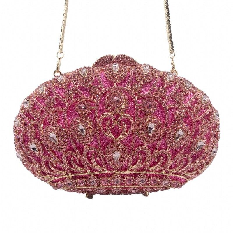 20x13 سنتيمتر الأحمر الماس عشاء حقيبة جوهرة تاج النساء مخلب حقيبة a6839