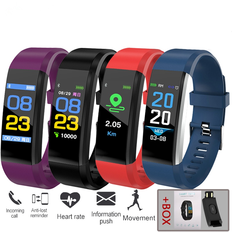 j1 smart wristband color display fitness tracker bracelet heart rate monitor blood pressure ip67 waterproof watches pk fitbits Electronics Bracelet Heart Rate Blood Pressure Smart Band Fitness Tracker Smartband Bluetooth Wristband for fitbits Smart Watch