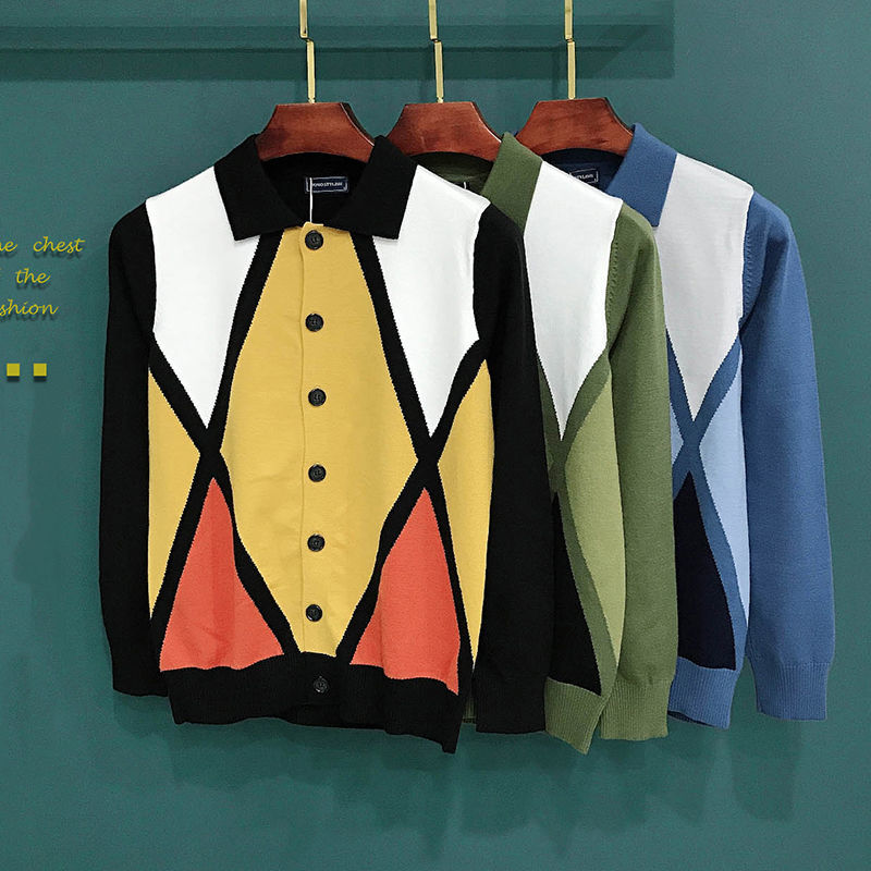 Fall and winter fashion cardigan jacket mens diamond-shaped sweater