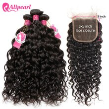 Alipearl الشعر موجة المياه حزم مع إغلاق ضفيرة شعر برازيلي 3 حزم مع إغلاق 5x5 اللون الطبيعي شعر ريمي تمديد