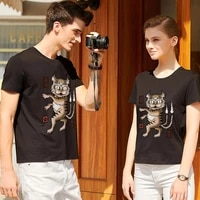 couple t shirt round neck trendy casual all match series men and women commuting street short sleeved breathable top