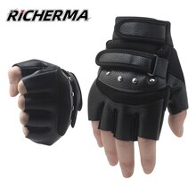 Летние кожаные перчатки без пальцев для мотоциклистов для мужчин и женщин, регулируемые Мотоциклетные Перчатки для мотоциклистов