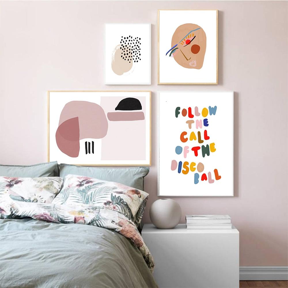 Póster nórdico abstracto con letras de arte, lienzo con estampado de líneas y cara, cuadros para montar a caballo, decoración para el hogar y la sala de estar
