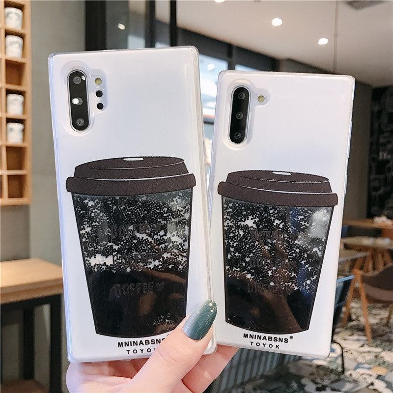 Tasse à café Liquide Quicksand Étui En Silicone Pour samsung galaxy Note 10 S8 S9 S10 plus J5 J7 2016 A5 A7 2017 A6 A8 plus 2018 couverture