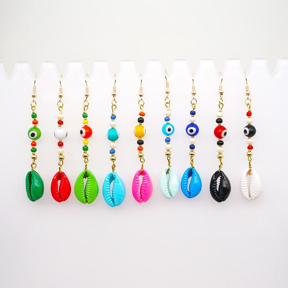 Go2boho Seashell pendiente mujeres turco mal ojo Nazar pendientes colgantes largos 2020 MultiColor Shell Danglers joyería femenina