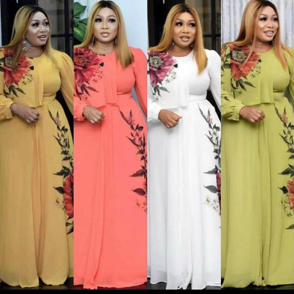 MD 2021 Summer Dresses For Women African Print Chiffon Abaya Ankara Dashiki Maxi Dress Long Sleeve Elegant Ladies Clothes Boubou