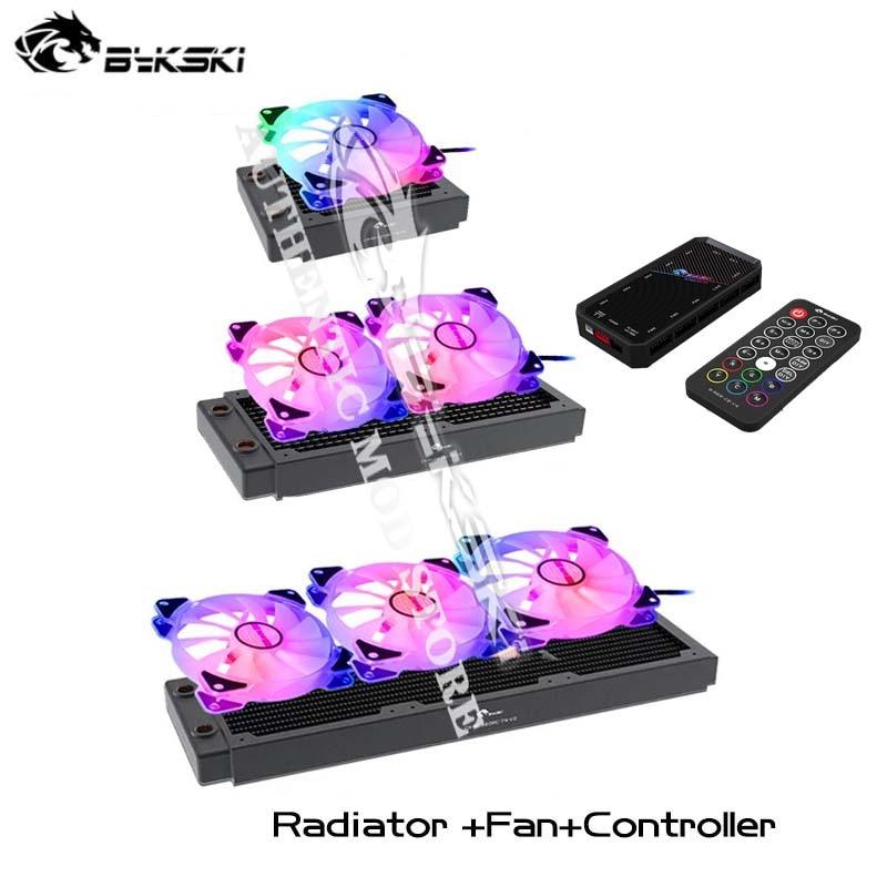 Bykski PC عدة تبريد المياه المبرد + مروحة + وحدة تحكم كومبو ، 30 مللي متر سميكة النحاس المبرد ، RGB كيس مروحة 120 مللي متر