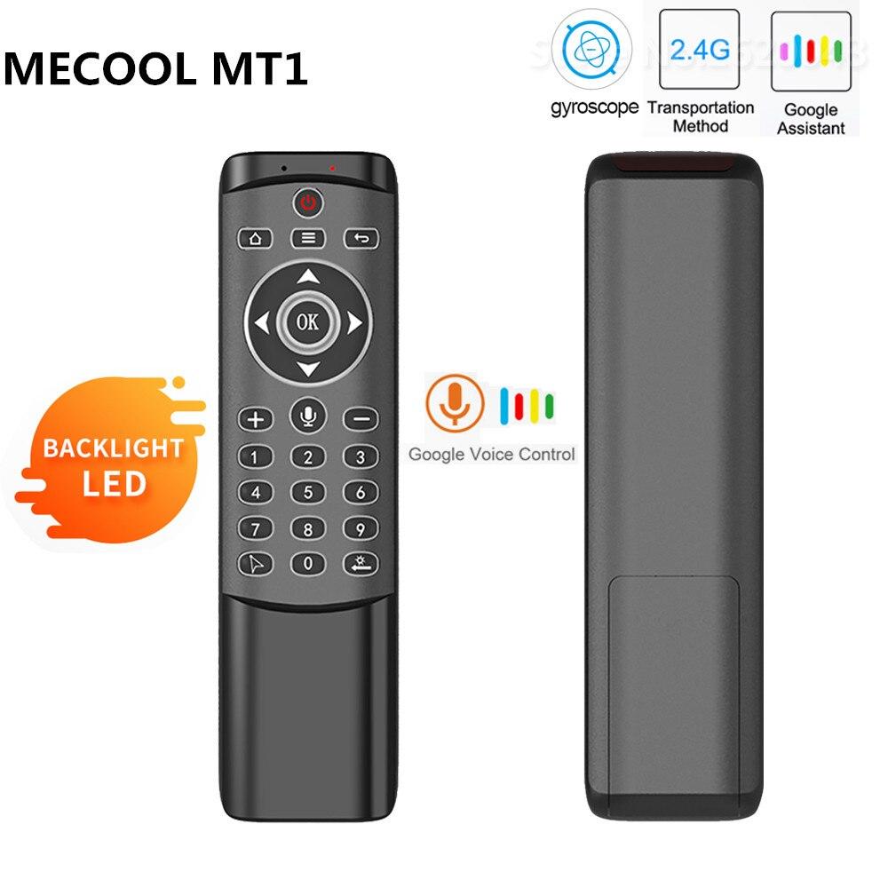 Mecool mt1 giroscópio retroiluminado voar mouse ar sem fio 2.4g voz inteligente controle remoto para x96 mini h96 max x2 android caixa de tv