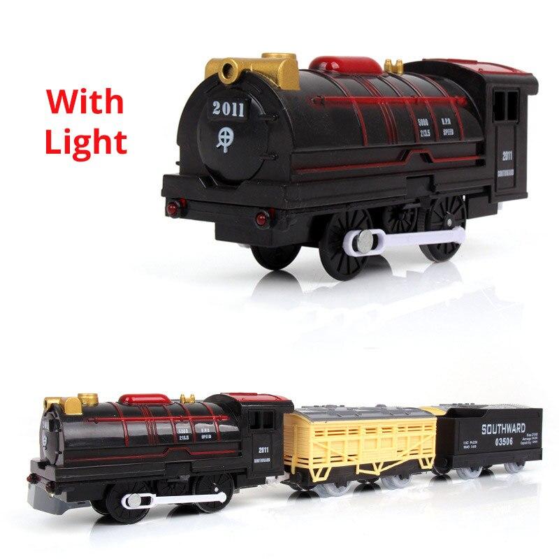 Juego de tren de vapor americano de 39cm con coches de carga, carritos de ferrocarril CRH, vehículo de pista, juguetes para chico y Chica, el mejor regalo