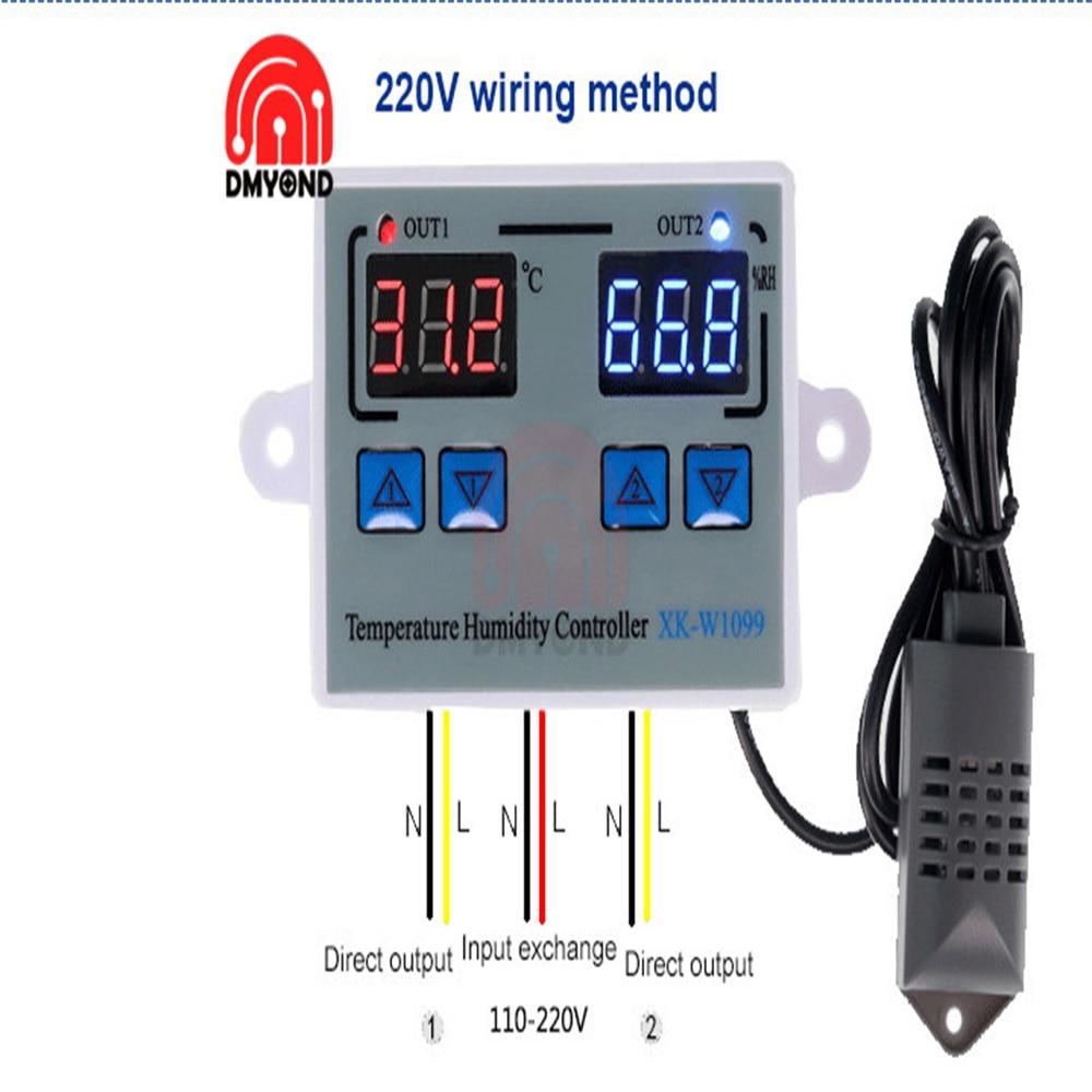 XK-W1099 цифровой Температура влажности Управление; 12V 24V 220V термостат для яичного инкубатора влажности Управление; Управление переключатель г...