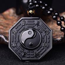 ¡Envío directo! Collar con colgante de obsidiana negra Yin Yang, colgante chino BAGUA, joyería para hombres, joyería para mujeres