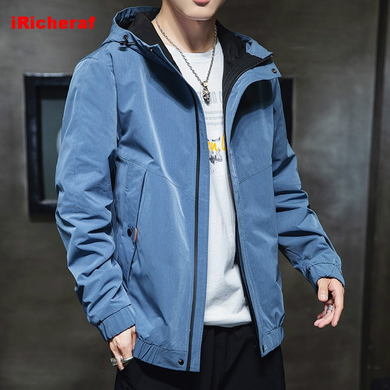 iRicheraf Mens Jackets Spring Autumn Casual Coats Solid Color Mens Sportswear Hoodie Jacket Male Bomber Jackets 4XL 5XL Clothes dimusi spring autumn mens denim jacket mens trendy fashion bomber thin ripped denim jacket male cowboy jeans jackets 4xl ta341