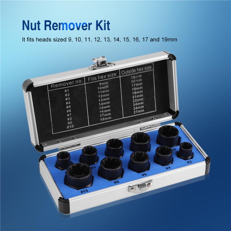 10PCS Nut Removal Tool Damaged Lug Nut Lock Remover Twist Socket Set Car Wheel Nut Socket Screw Extractor Tool Automotive Tools