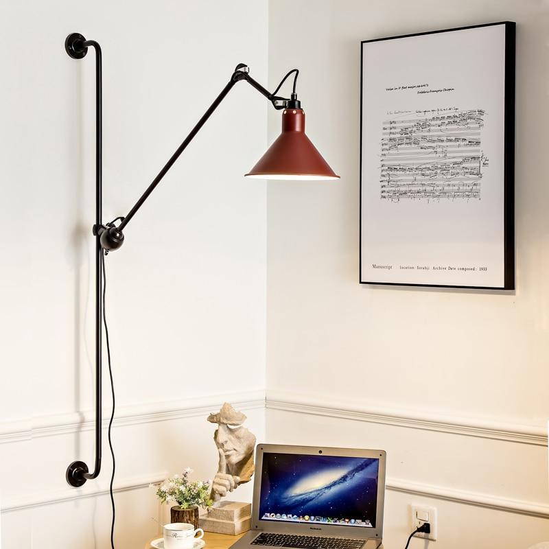 Lámpara de pared LED giratoria moderna Vintage lámpara de pared con brazo largo para salón estudio comedor Retro Loft iluminación de pared para el hogar interior