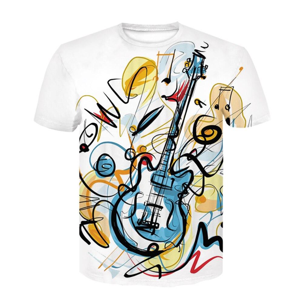 Camiseta informal con estampado 3d para hombre, camiseta rock guitar happy summer music festival, camiseta blanca, divertida camiseta
