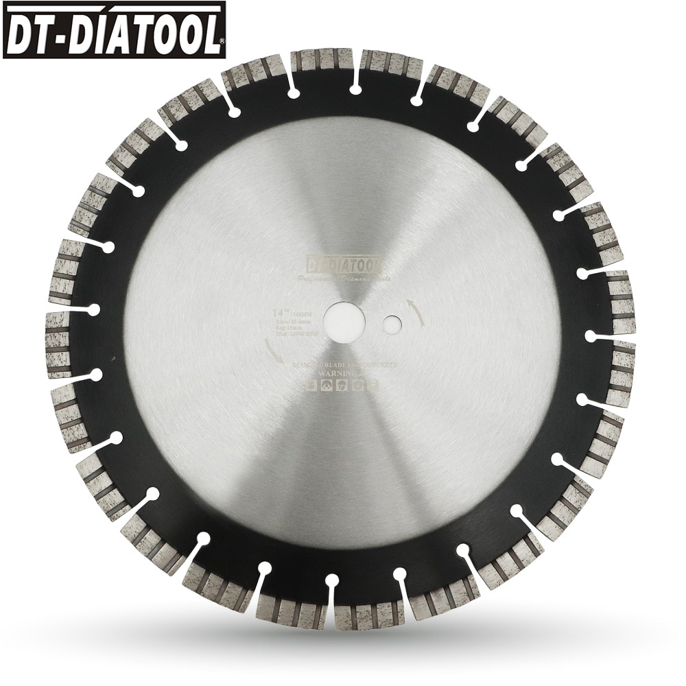 DT-DIATOOL Dia 14 inch 24-Teeth Laser Welded Diamond Turbo Segmented Saw Blade Professional Reinforced Concrete Cutting Disc